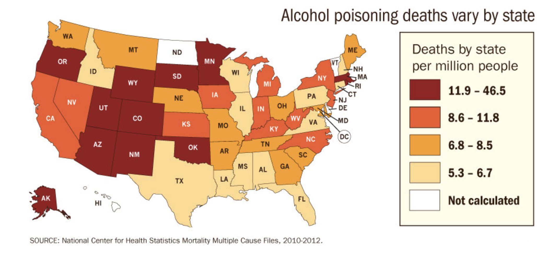 Alcohol poisonings by state