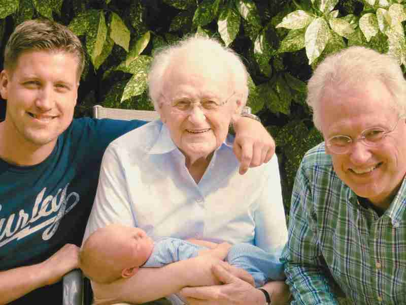 Family photo of four generations of men