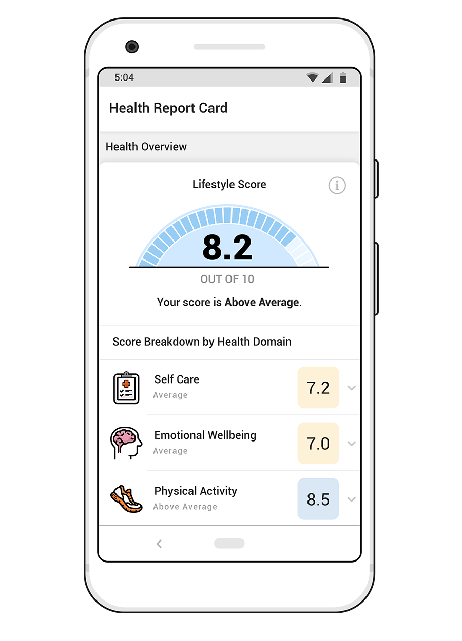 ios phone featuring health journey